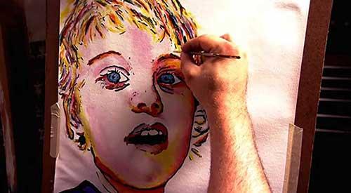 هنرمند نابینایی که با حس لامسه نقاشی میکند + عکس