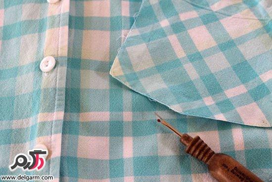 تصاویر: درست کردن پیشبند آشپزخانه با پیراهن مردانه