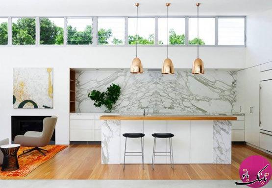 استفاده از سنگ مرمر در طراحی داخلی آشپزخانه