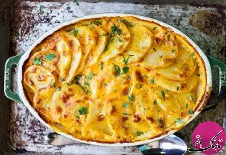 روش تهیهی سینی سیبزمینی و پنیر