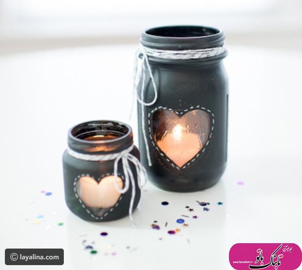 با قوطی های شیشه ای جا شمعی بسازید