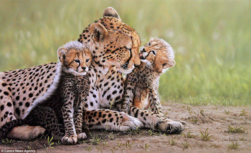 خلق نقاشی های هایپر رئال باورنکردنی از حیات وحش آفریقا