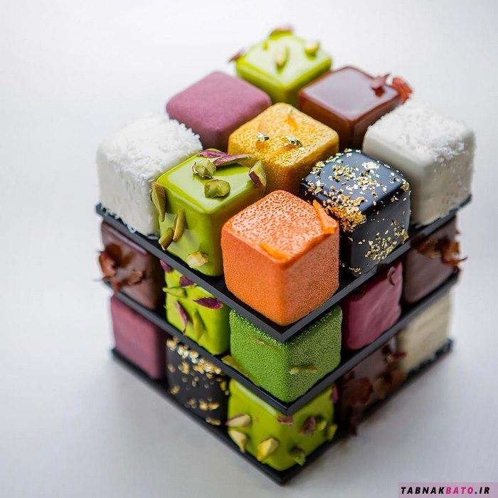 زیبایی فوقالعاده این کیکهای مکعب روبیکی