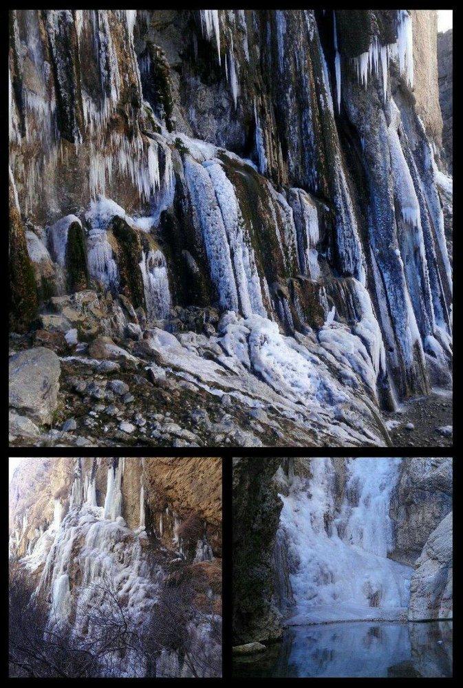 زیباترین آبشار خاورمیانه یخ زد +عکس