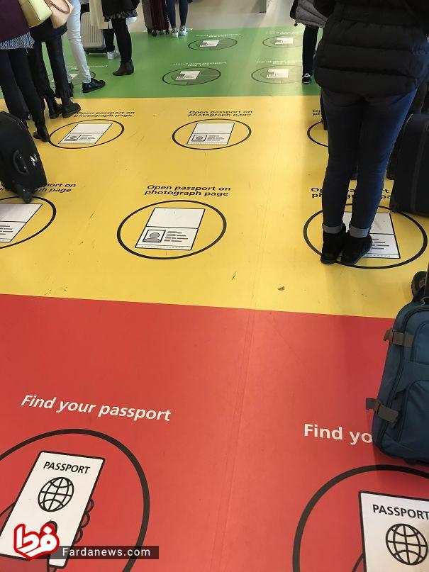 نظم دادن جالب صف گذرنامه در فرودگاه کپنهاگ +عکس