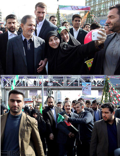 سلفی با جهانگیری در راهپیمایی 22 بهمن