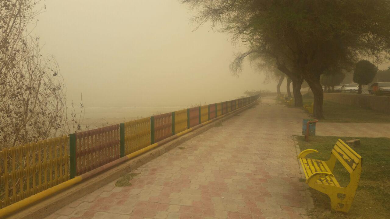 رودخانه کارون در گرد و غبار محو شد+عکس