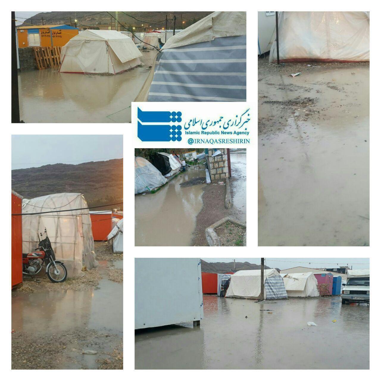 چادرهای در آب فرورفته زلزله زدگان +عکس