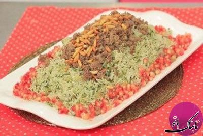 طرز تهیهی برنج و اسفناج