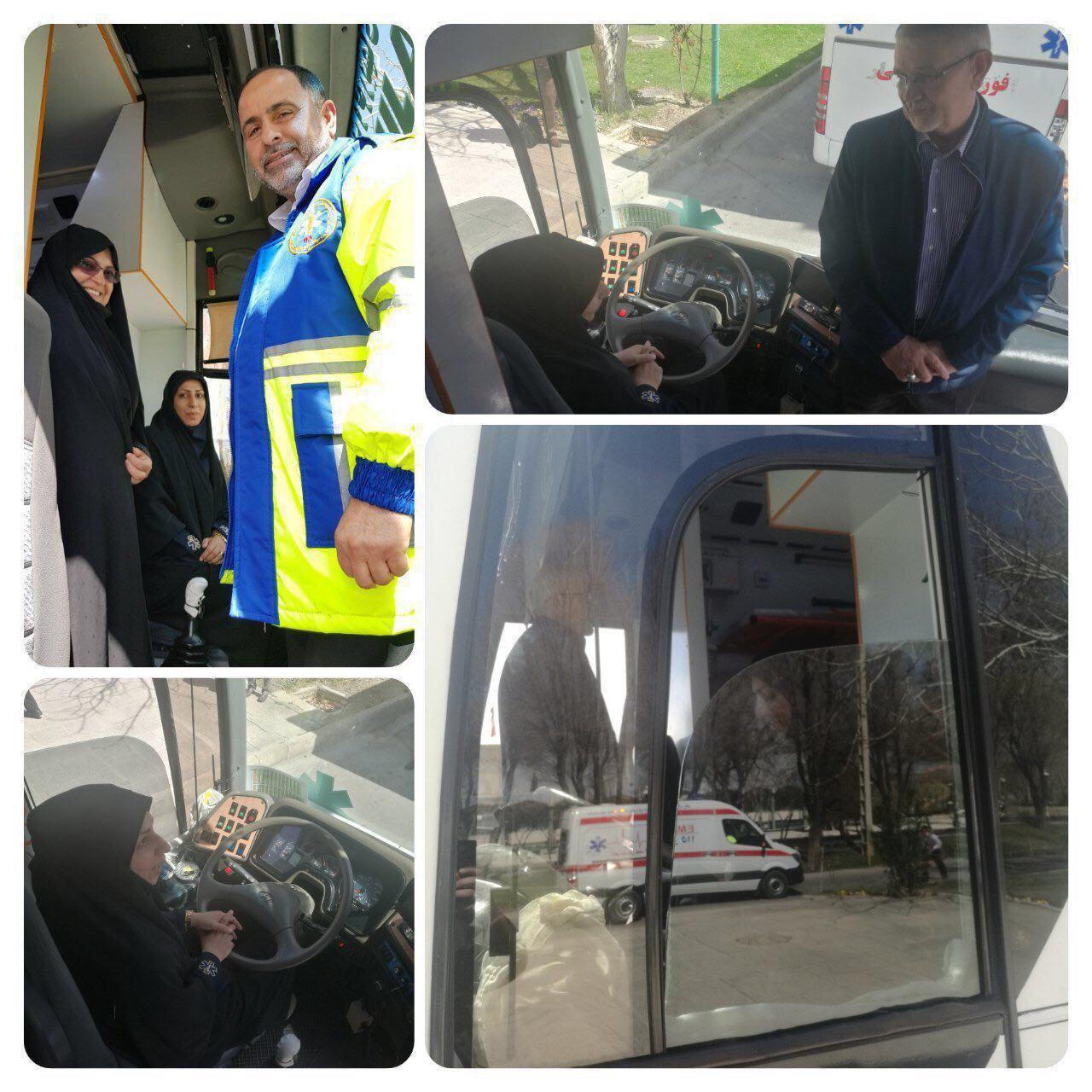 اولین زن راننده اتوبوس آمبولانس اورژانس ۱۱۵ +عکس