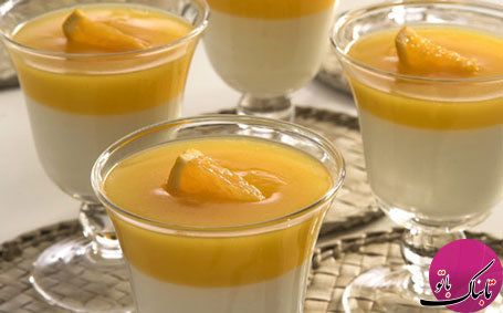 فرنی دورنگ با طعم پرتقال