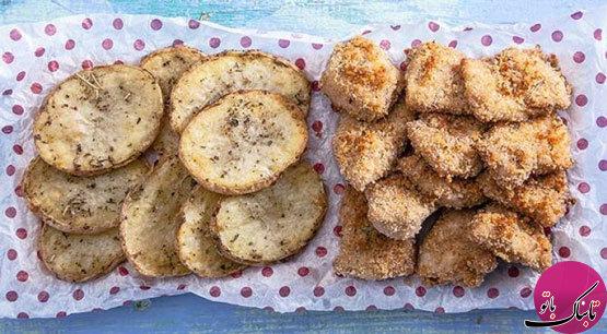طرز تهیهی ناگت مرغ و سیبزمینی در فر