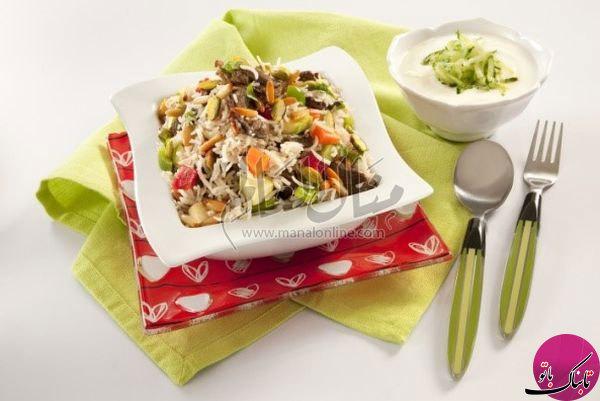 پلوی گوشت و سبزیجات، لذیذ و رنگارنگ