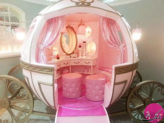 چیدمان پرنسسی اتاق خواب دخترانه