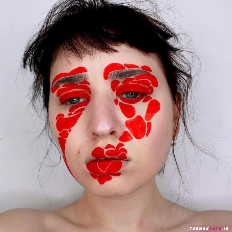 چهره این زن ونکووری به عنوان بوم نقاشیهای انتزاعی