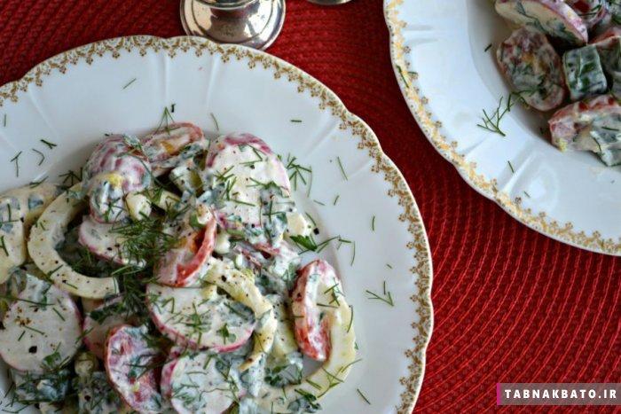 سالاد سبزیجات با سُس ماست برای گیاهخواران