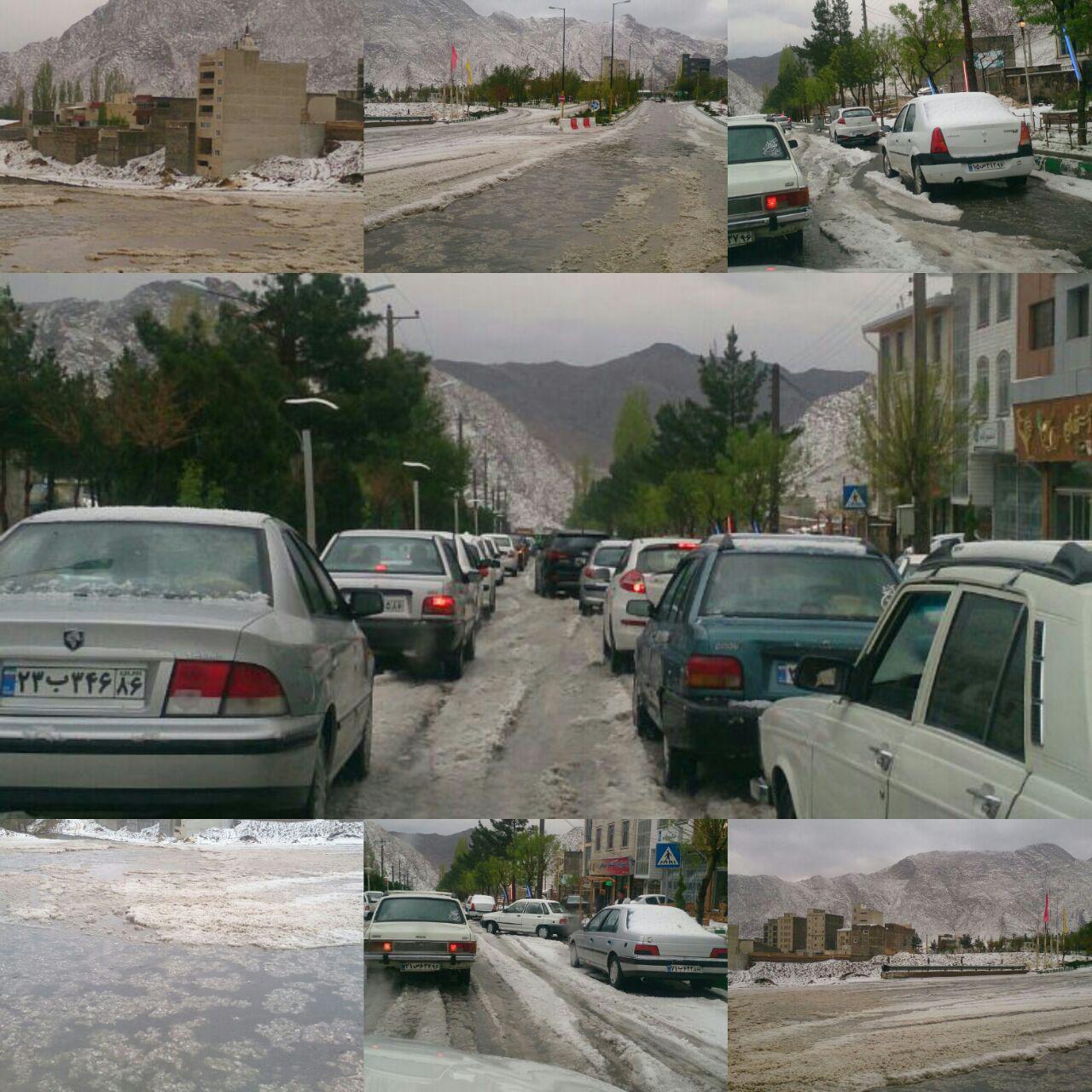 بارش تگرگ بهاری در سمنان +عکس
