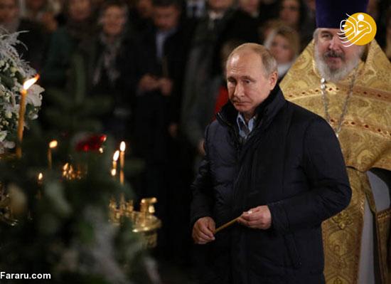 پوتین به کلیسای دوران کودکی خود رفت+عکس