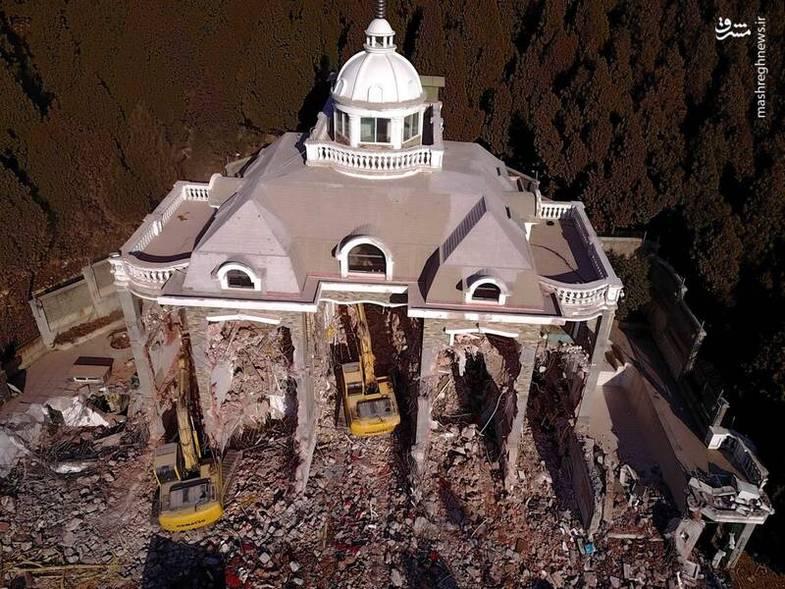 تخریب قصر لوکس غیر قانونی در چین +عکس