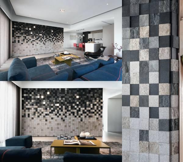 اصول تزیین دیوار اتاق پذیرایی مدرن باسنگ و چوب