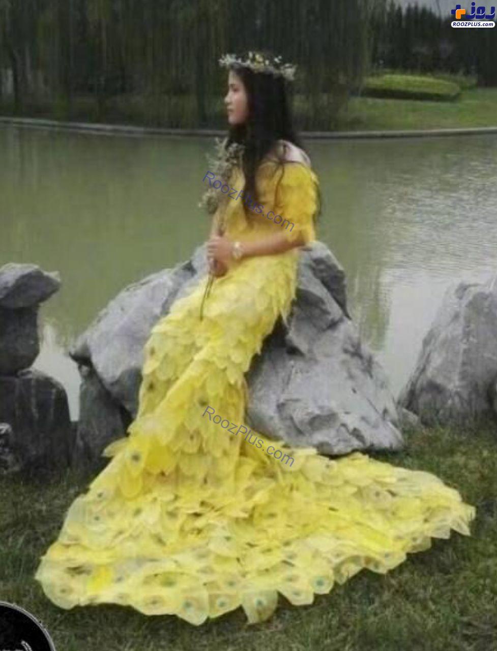 لباسی که از ۶ هزار برگ درخت ساخته شده است+عکس