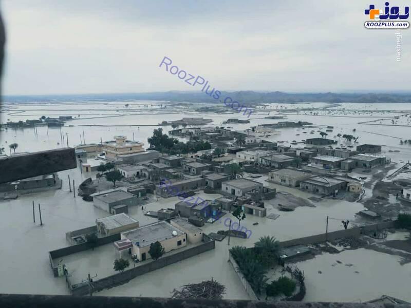 عکس هوایی از وضعیت روستای سیلزده در چابهار