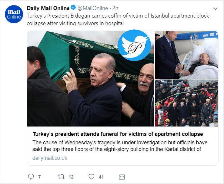 آقای رئیس جمهور زیر تابوت یکی از قربانیان حادثه استانبول +عکس