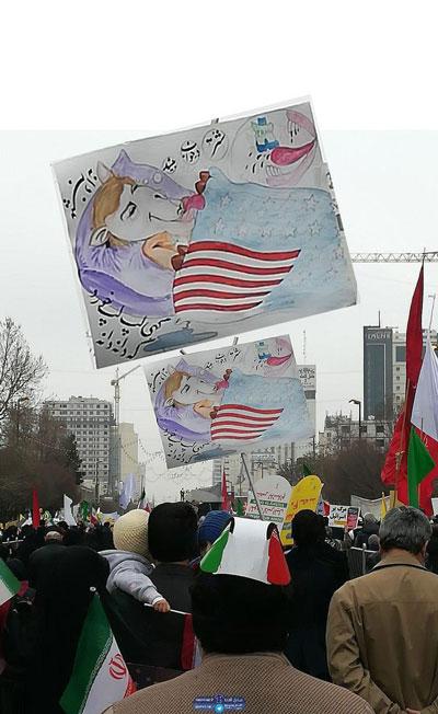 نقاشی یک شهروند مشهدی در راهپیمایی+عکس