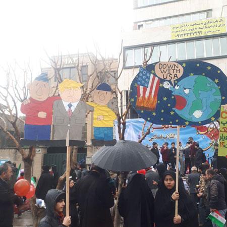 ترامپ، کنار «پت و مت» در راهپیمایی تهران +عکس