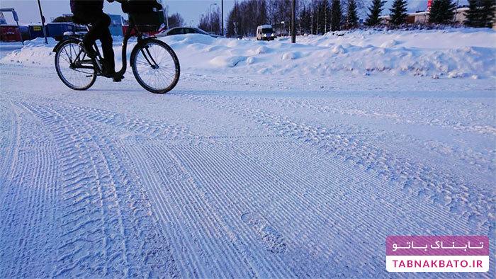 رفتوآمد دانشآموزان با دوچرخه در دمای منفی 17 درجه!