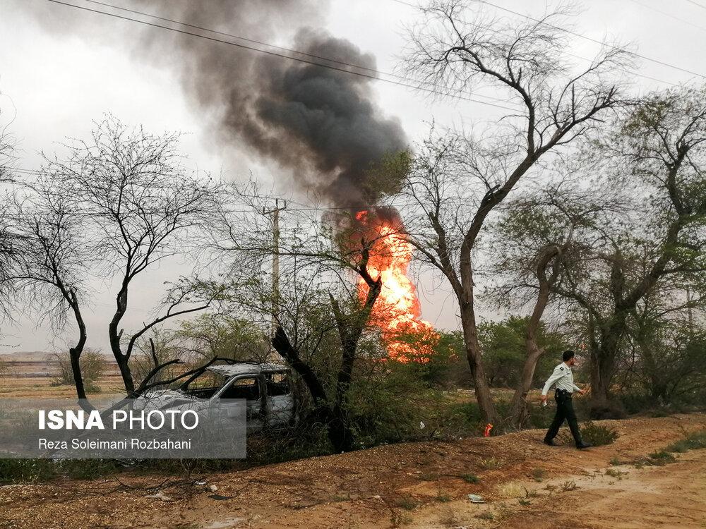 خودروهایی که در انفجار خط لوله گاز اهواز سوختند +عکس