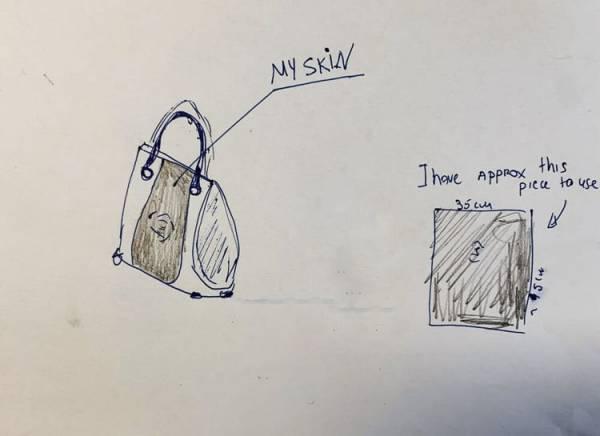 درخواست عجیب یک زن برای ساخت کیف ازپوست بدنش +عکس