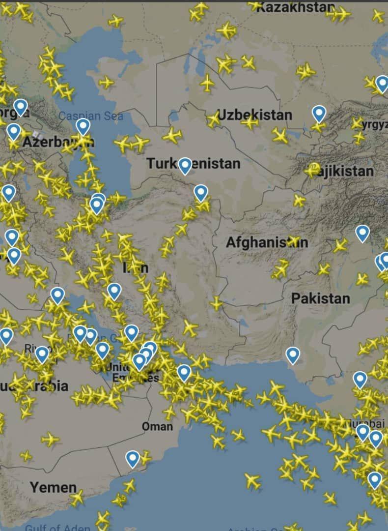 ترافیک شدید هوایی در آسمان ایران!؟ +عکس