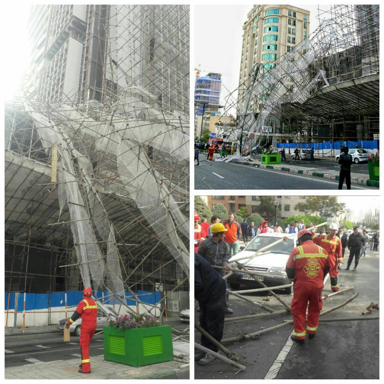 سقوط داربست ساختمان ۱۰ طبقه در سعادتآباد +عکس
