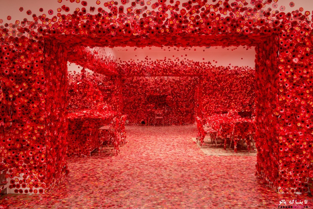 آپارتمان غرق شده در گل های قرمز