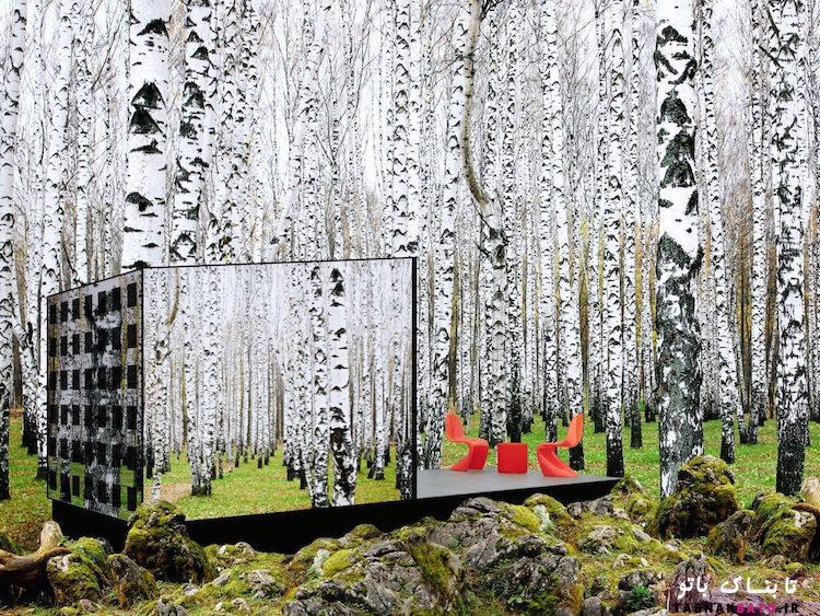 خانه شيشه اي سازگار با محيط زيست در محيط طبيعي اطراف استتار مي شود