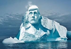 حکاکی سردیس ترامپ بر روی کوه یخ +عکس