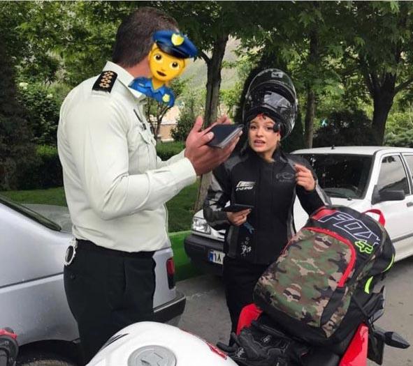 جریمه قهرمان موتورسواری زنان ایران توسط پلیس+عکس