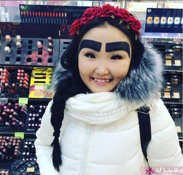 شهرت دختر روس به خاطر ابروهای عجیبش