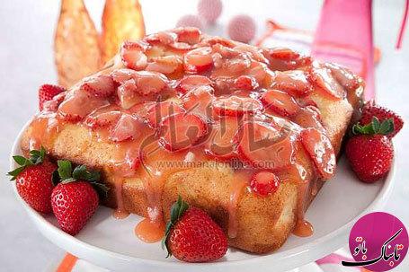 طرز تهیهی کیک توت فرنگی