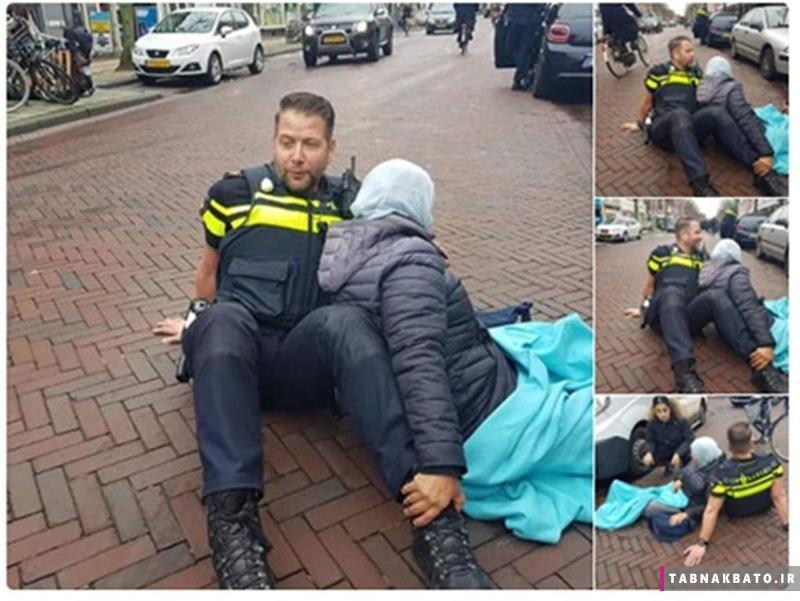 اقدام جالب پلیس هلند برای کمک به یک تصادف دیده