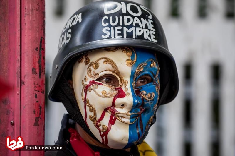 ماسک عجیب یک معترض+عکس