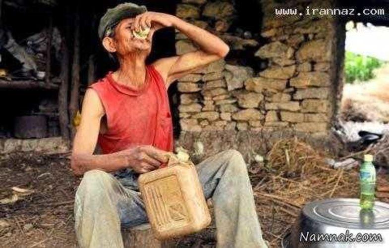 مرد عجیب و غریبی که فقط گازوئیل میخورد +عکس