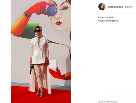 پوشش سارا بهرامی در جشنواره فیلم ونیز +عکس