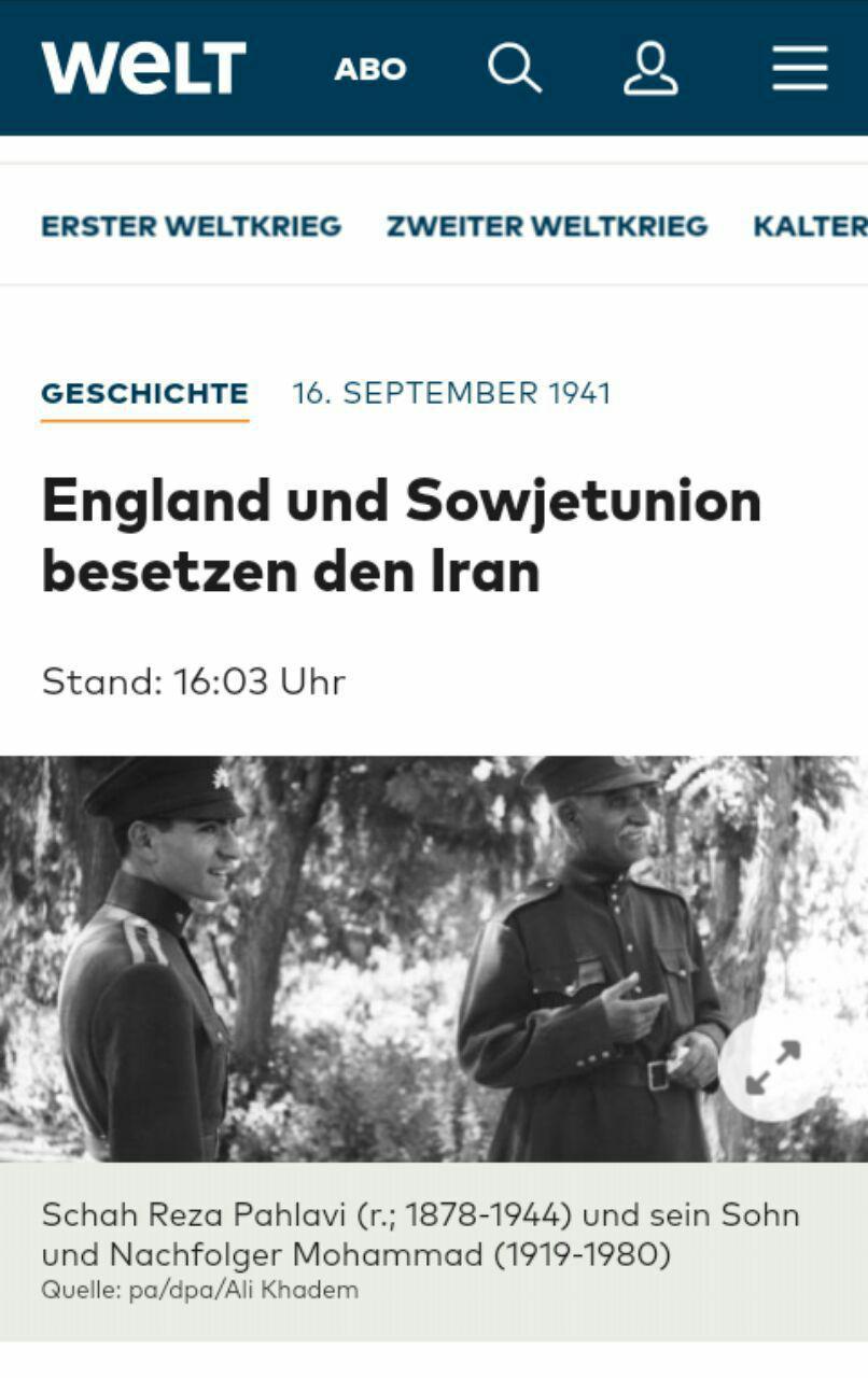 عکسی که سایت آلمانی به مناسبت سالگرد اشغال ایران منتشر کرد