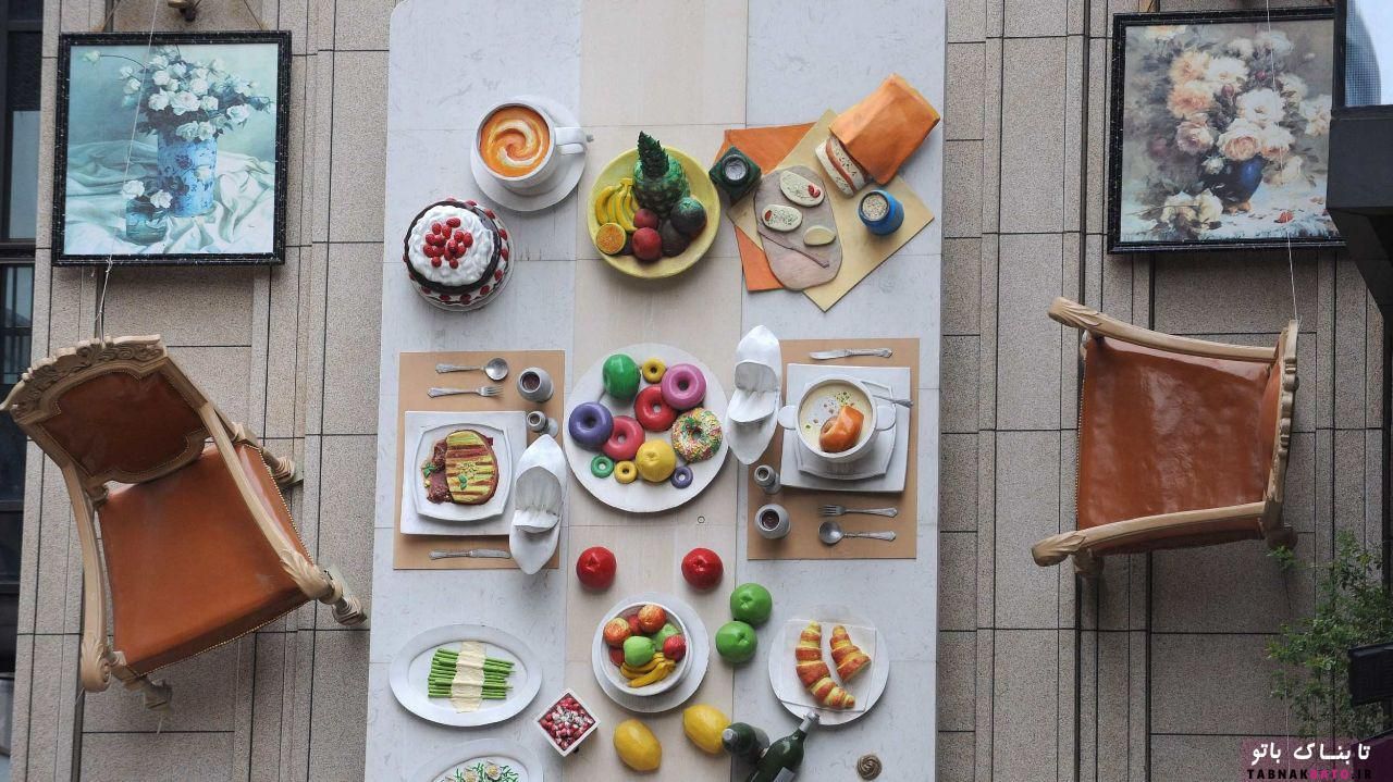میز غذاخوری عمودی روی دیوار چینی ها