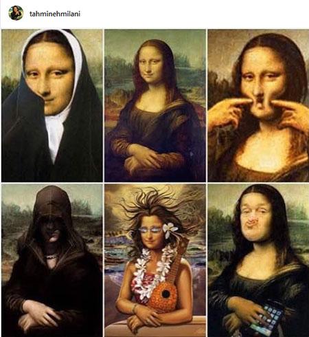 شوخی بدون شرح تهمینه میلانی با مونالیزا+عکس