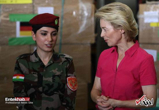 دیدار وزیر دفاع آلمان با زنان پیشمرگه +عکس