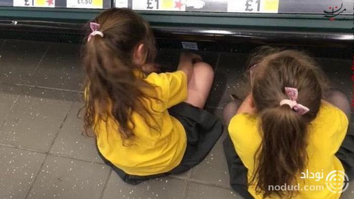 رفتار مادر سنگدل با ۲ دختر خود در فروشگاه +عکس
