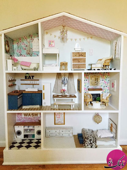 قفسهی اتاق کودک به شکل خانهی عروسکی